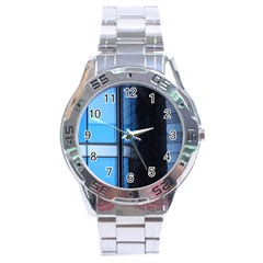 Modern Office Window Architecture Detail Stainless Steel Analogue Watch by Simbadda
