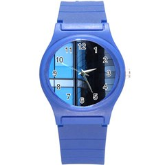 Modern Office Window Architecture Detail Round Plastic Sport Watch (s) by Simbadda