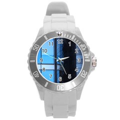 Modern Office Window Architecture Detail Round Plastic Sport Watch (l) by Simbadda