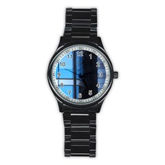 Modern Office Window Architecture Detail Stainless Steel Round Watch by Simbadda