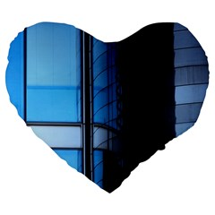 Modern Office Window Architecture Detail Large 19  Premium Flano Heart Shape Cushions by Simbadda