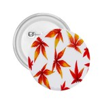 Colorful Autumn Leaves On White Background 2.25  Buttons Front