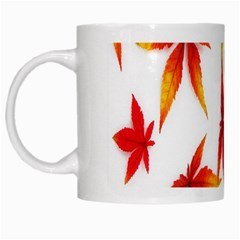 Colorful Autumn Leaves On White Background White Mugs