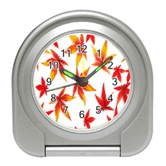 Colorful Autumn Leaves On White Background Travel Alarm Clocks