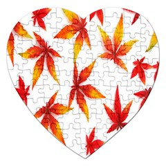 Colorful Autumn Leaves On White Background Jigsaw Puzzle (heart) by Simbadda