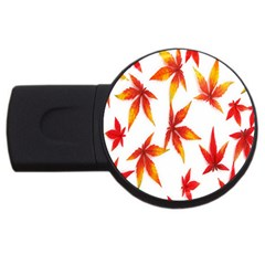 Colorful Autumn Leaves On White Background Usb Flash Drive Round (4 Gb) by Simbadda
