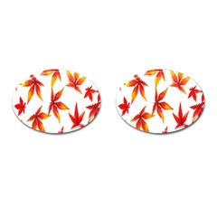 Colorful Autumn Leaves On White Background Cufflinks (oval) by Simbadda