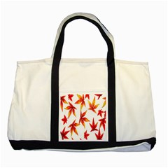 Colorful Autumn Leaves On White Background Two Tone Tote Bag by Simbadda