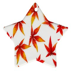 Colorful Autumn Leaves On White Background Star Ornament (two Sides) by Simbadda
