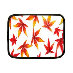Colorful Autumn Leaves On White Background Netbook Case (small)