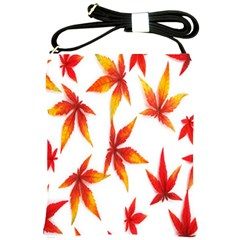 Colorful Autumn Leaves On White Background Shoulder Sling Bags by Simbadda