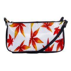 Colorful Autumn Leaves On White Background Shoulder Clutch Bags by Simbadda