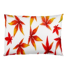 Colorful Autumn Leaves On White Background Pillow Case (two Sides) by Simbadda