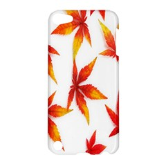 Colorful Autumn Leaves On White Background Apple Ipod Touch 5 Hardshell Case by Simbadda