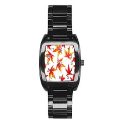 Colorful Autumn Leaves On White Background Stainless Steel Barrel Watch