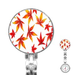 Colorful Autumn Leaves On White Background Stainless Steel Nurses Watch by Simbadda