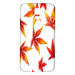 Colorful Autumn Leaves On White Background Samsung Galaxy S5 Back Case (white) by Simbadda