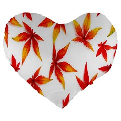 Colorful Autumn Leaves On White Background Large 19  Premium Flano Heart Shape Cushions
