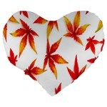 Colorful Autumn Leaves On White Background Large 19  Premium Flano Heart Shape Cushions Back