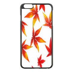 Colorful Autumn Leaves On White Background Apple Iphone 6 Plus/6s Plus Black Enamel Case by Simbadda