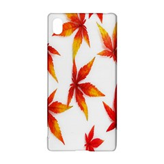 Colorful Autumn Leaves On White Background Sony Xperia Z3+ by Simbadda