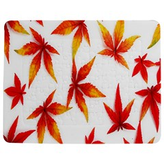 Colorful Autumn Leaves On White Background Jigsaw Puzzle Photo Stand (rectangular)