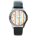 Colorful Abstract Stripes Circles And Waves Wallpaper Background Round Metal Watch Front