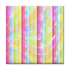 Colorful Abstract Stripes Circles And Waves Wallpaper Background Tile Coasters by Simbadda
