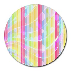 Colorful Abstract Stripes Circles And Waves Wallpaper Background Round Mousepads by Simbadda