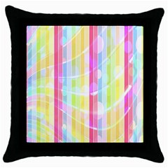 Colorful Abstract Stripes Circles And Waves Wallpaper Background Throw Pillow Case (black) by Simbadda