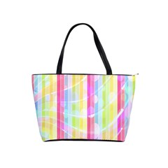 Colorful Abstract Stripes Circles And Waves Wallpaper Background Shoulder Handbags by Simbadda