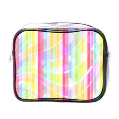 Colorful Abstract Stripes Circles And Waves Wallpaper Background Mini Toiletries Bags by Simbadda