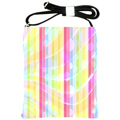 Colorful Abstract Stripes Circles And Waves Wallpaper Background Shoulder Sling Bags by Simbadda