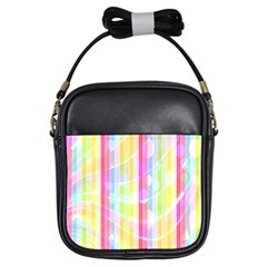 Colorful Abstract Stripes Circles And Waves Wallpaper Background Girls Sling Bags by Simbadda