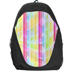 Colorful Abstract Stripes Circles And Waves Wallpaper Background Backpack Bag by Simbadda