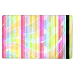 Colorful Abstract Stripes Circles And Waves Wallpaper Background Apple Ipad 2 Flip Case by Simbadda