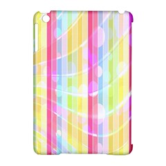 Colorful Abstract Stripes Circles And Waves Wallpaper Background Apple Ipad Mini Hardshell Case (compatible With Smart Cover) by Simbadda