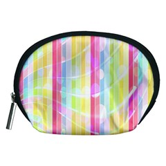 Colorful Abstract Stripes Circles And Waves Wallpaper Background Accessory Pouches (medium)  by Simbadda