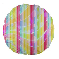 Colorful Abstract Stripes Circles And Waves Wallpaper Background Large 18  Premium Flano Round Cushions