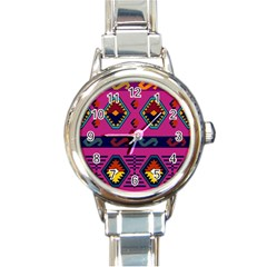Abstract A Colorful Modern Illustration Round Italian Charm Watch by Simbadda