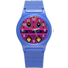 Abstract A Colorful Modern Illustration Round Plastic Sport Watch (s)