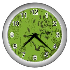 Abstract Green Background Natural Motive Wall Clocks (silver)