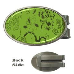 Abstract Green Background Natural Motive Money Clips (oval)  by Simbadda