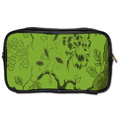 Abstract Green Background Natural Motive Toiletries Bags by Simbadda