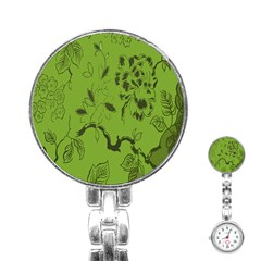 Abstract Green Background Natural Motive Stainless Steel Nurses Watch by Simbadda