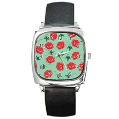Floral Roses Wallpaper Red Pattern Background Seamless Illustration Square Metal Watch by Simbadda
