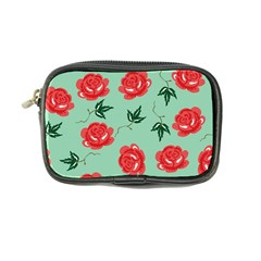 Floral Roses Wallpaper Red Pattern Background Seamless Illustration Coin Purse by Simbadda