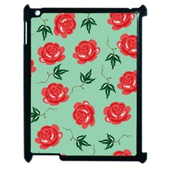 Floral Roses Wallpaper Red Pattern Background Seamless Illustration Apple Ipad 2 Case (black) by Simbadda