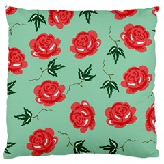 Floral Roses Wallpaper Red Pattern Background Seamless Illustration Large Cushion Case (two Sides) by Simbadda