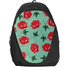 Floral Roses Wallpaper Red Pattern Background Seamless Illustration Backpack Bag by Simbadda